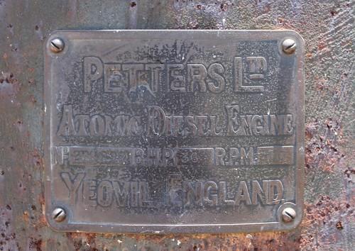Petters Atomic Diesel 36HP Engine Number Plate