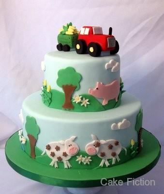 Tractor And Farm Animals Birthday Cake