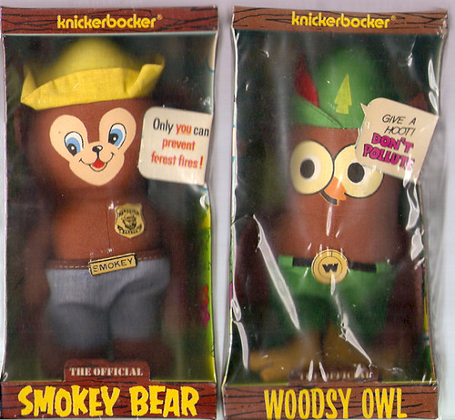 1972 Knickerbocker Smokey Bear Woodsy Owl Dolls