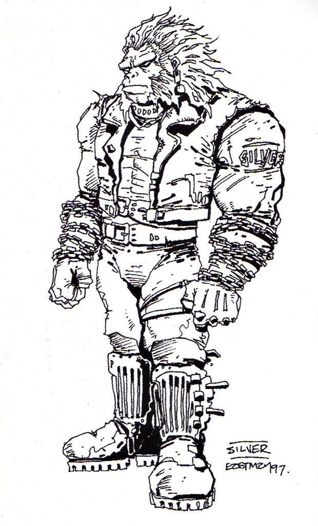 "Kevin Eastman's ""TEENAGE MUTANT NINJA TURTLES"" Artobiography :: Ninja Turtles: The Next Mutation ..""Silver the Gorilla"" concept art (( 1997 )) by tOkKa"