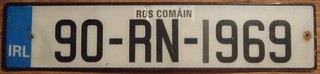 IRELAND, COUNTY ROSCOMMON 1990 ---LICENSE PLATE