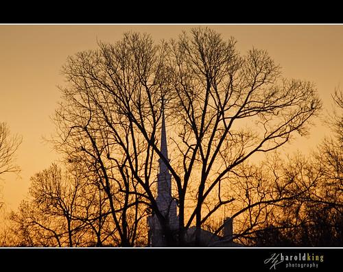 trees winter church photoshop sunrise canon nc northcarolina greensboro steeple piedmont topaz guilford triad guilfordcounty 40d haroldkingphotography