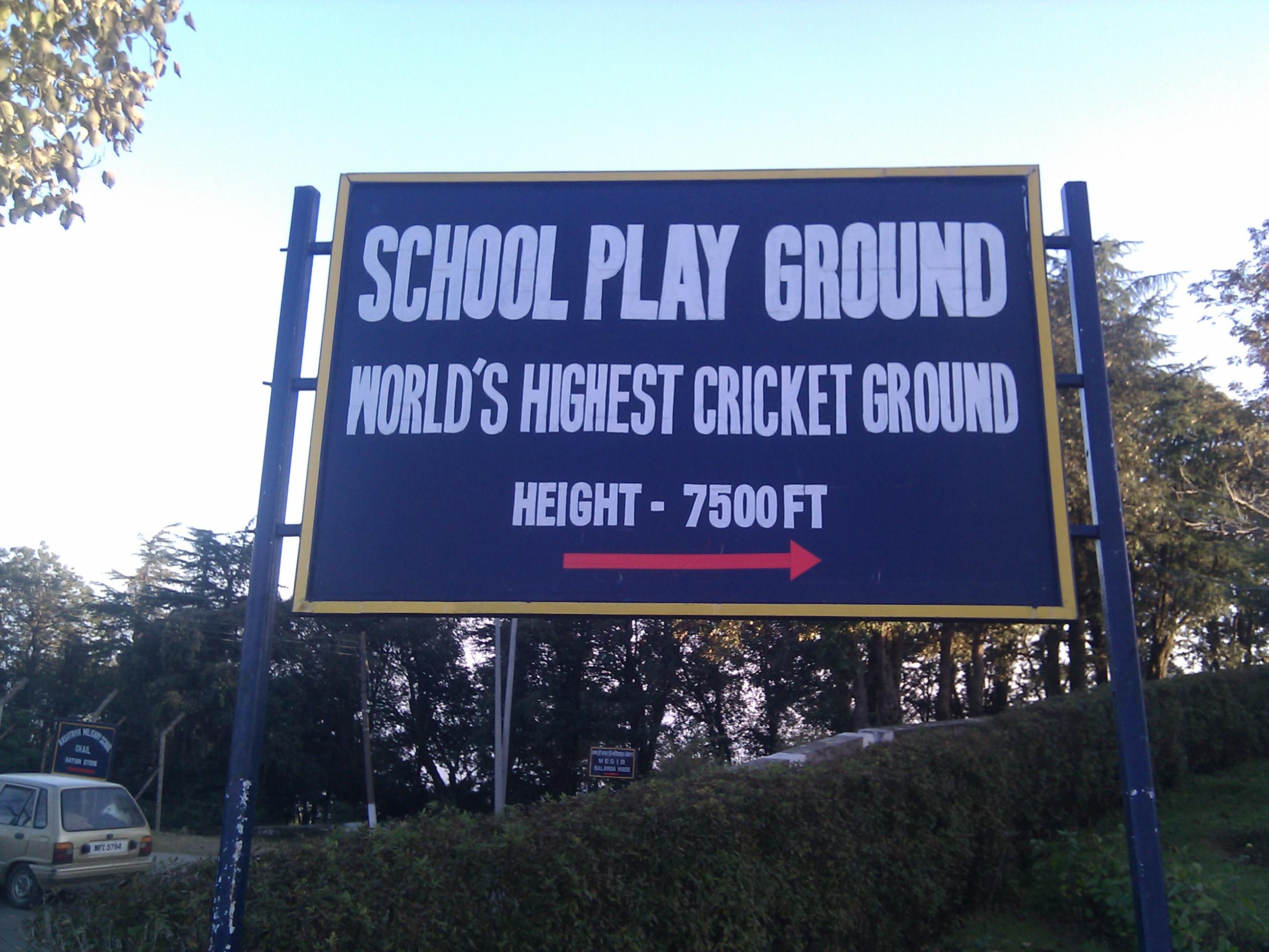 World's highest cricket ground at Chail