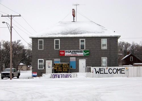 harris prairie snow hotel sign bar restaurant cocacola sprite 2010 colour morning color building white sk saskatchewan canadagood canada thisdecade text
