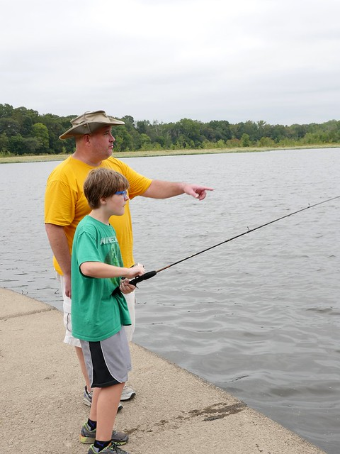 Photo of man and boy fishing at Tuckahoe