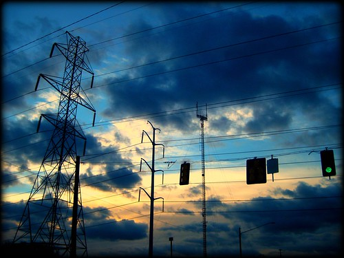 blue light sunset sky green nova lines electric clouds power go commute dcist flipmode79