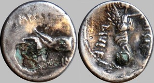 546/7 and 546/6 #10258-0 SCARPVS IMP CAESAR DIVI F open right hand Victory on globe plated 546-6, 546-7 hybrid Denarius | by Ahala
