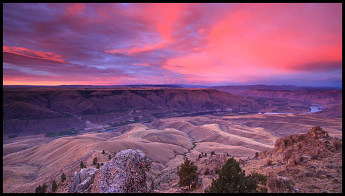 clouds sunrise river landscape washington hills valleys