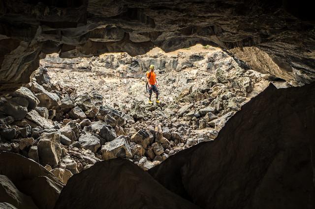 Inside the lava tubes. Tabernacle Hill Lava Tube System, Utah.