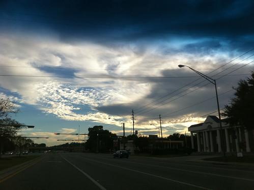 city red sky tree cars tangerine sunrise grey metro florida north leon