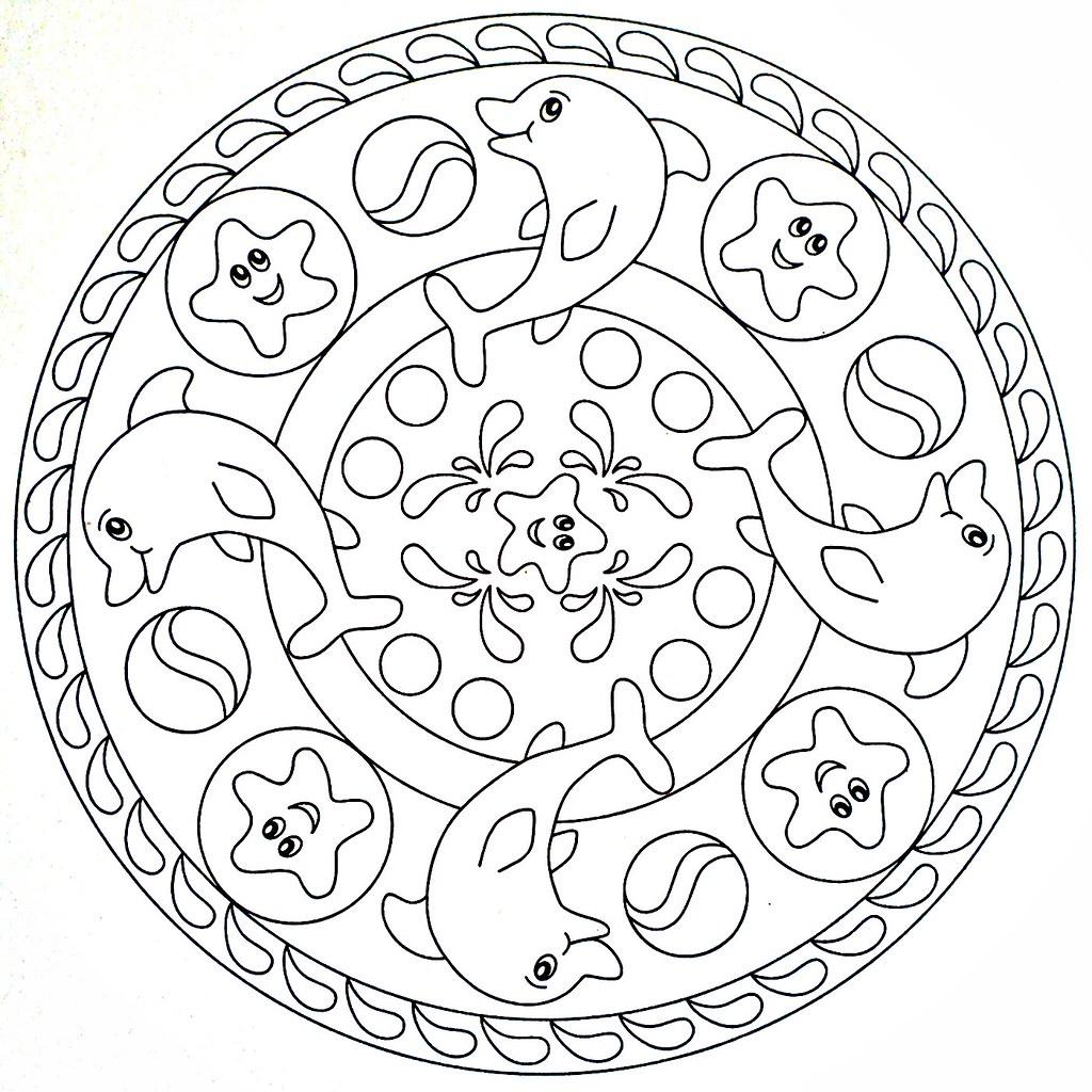 Mandala Coloring Page Dolphins Szinezo Delfin Moldovancsaba