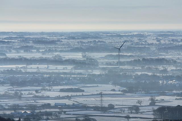 Garstang wind turbine seen from Nicky Nook, Scorton, Lancashire, UK