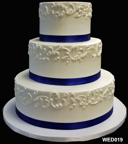 WED019 3 tier round wedding cake with scroll and satin ribbon 19 50   by 3 Brothers Bakery