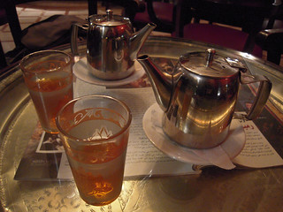 Moroccan food and drink - mint tea in Cafe Casablanca