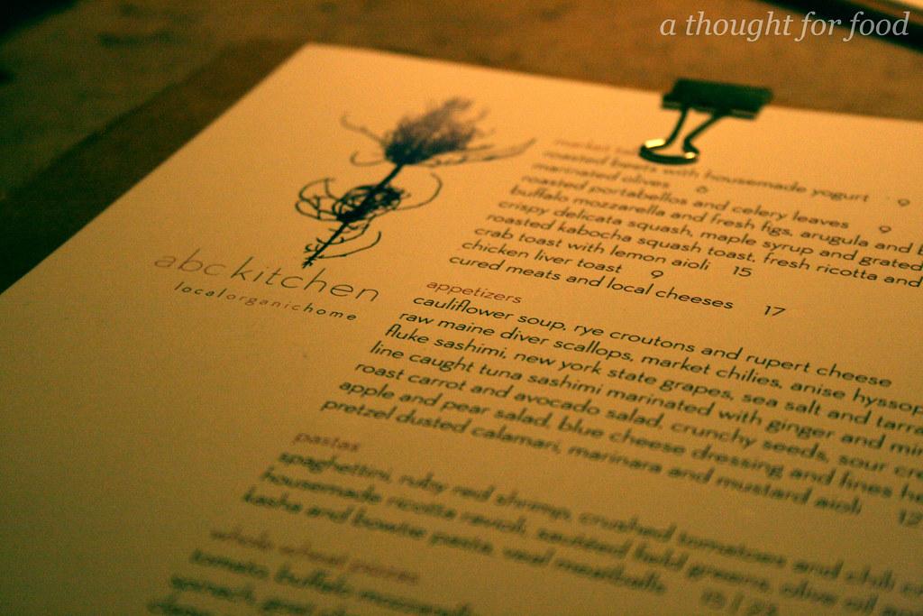 The menu at ABC Kitchen | Brian Samuels | Flickr