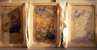 Art Contemporain, Jurgen Borgers,Triptique en papier, 1991.