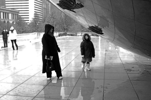 Catching rain off the bean. Chicago