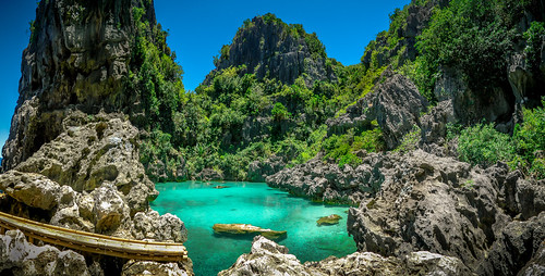 philippines island ocean rocks isla de gigantes lagoon resort