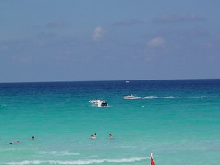 Ocean offf the beach in Cancun