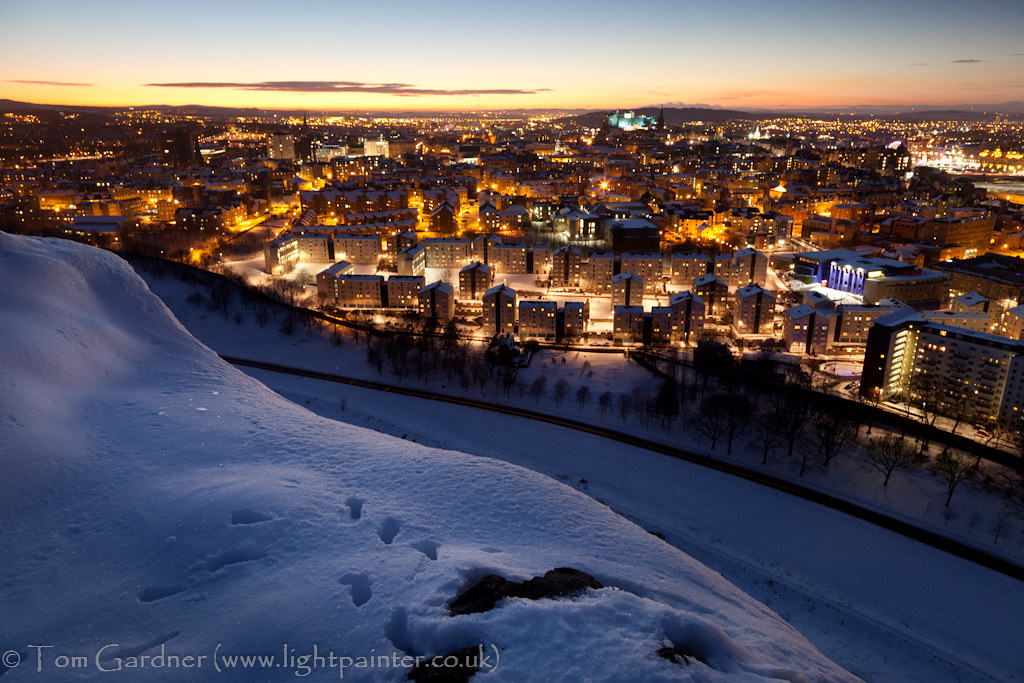 Edinburgh at dusk from snow covered Salisbury Crags