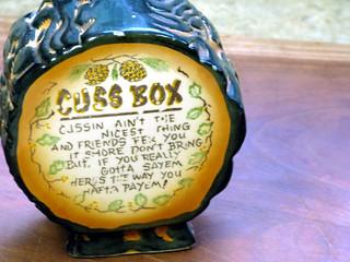 Vintage Ceramic Swear Jar or Cuss Box Coin Bank with Appalachian Hillbilly Motif - Made in Japan   by GranniesKitchen