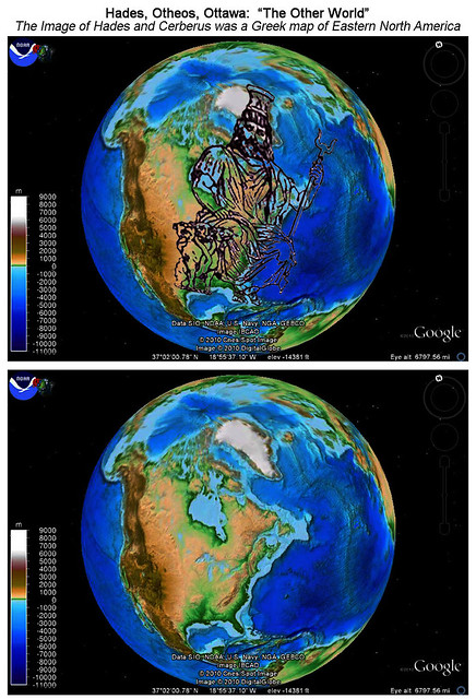 Ha-d-es, Ah-tee-wahs, O-th-eos: Greek map of the Eastern North America,