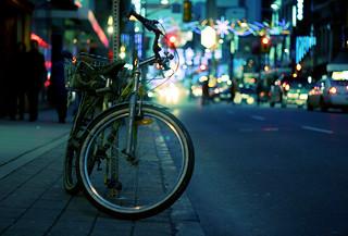 Bike on Yonge street in Toronto (Explored)   by moonstream