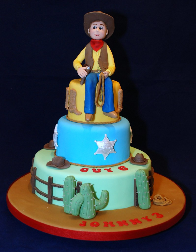 Miraculous Cowboy Birthday Cake 001 This Cake Was For 2 Little Brothe Flickr Funny Birthday Cards Online Aboleapandamsfinfo