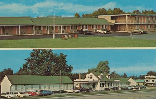 vintage pennsylvania postcard motel keystone antenna aaa lincolnhighway chambersburg dualview