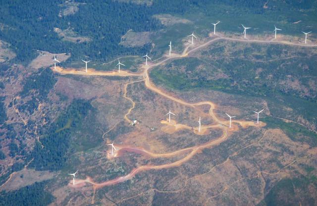 A wind turbine farm in northern CA