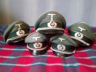 World War Two German Army Officers peaked caps | 5 peaked ca