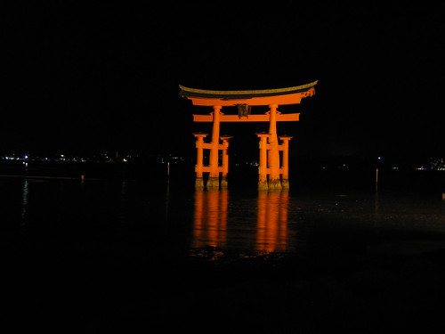 Floating Torii at Night with Rising Tide - 4   by chrispcampbell
