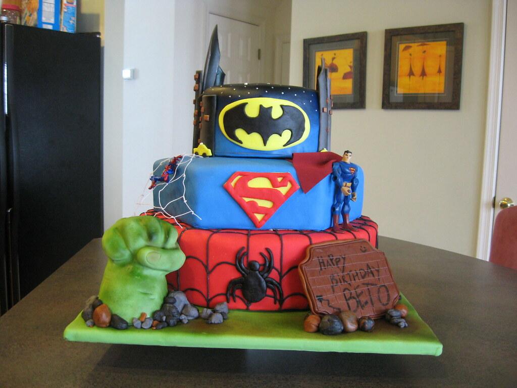 Superheroes Hulk Spiderman Superman Batman Cake Fond Flickr