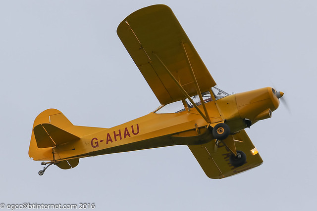 G-AHAU - 1945 Taylorcraft built Auster J/1 Autocrat, departing from Runway 08L at Barton
