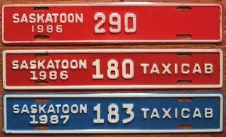 SASKATOON, SASKATCHEWAN 1986, 1987 ---TAXICAB and CITY VEHICLE SUPPLEMENTAL PLATE