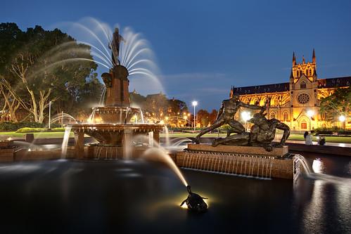 Archibald Fountain at Twilight
