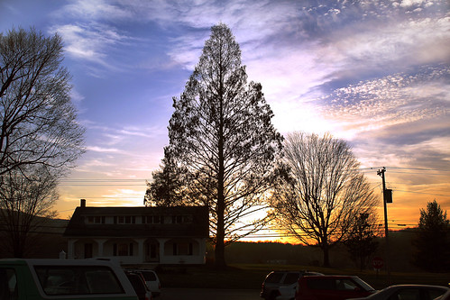 blue sunset usa house tree cars college yellow clouds tennessee parking lot milligan
