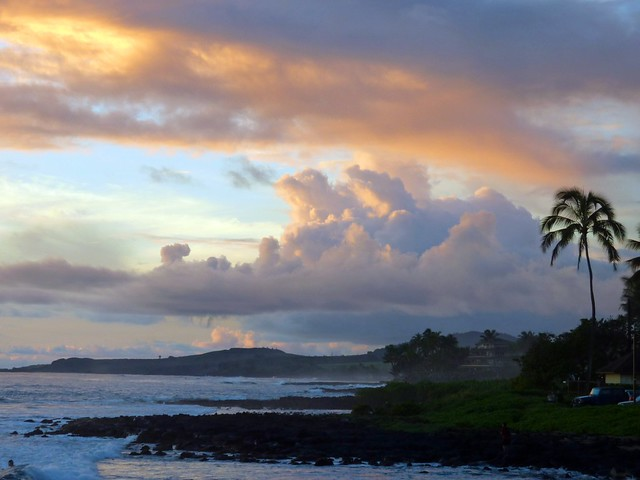 Enjoying a warm sunset near Poipu, Kauai - and thinking about it being -5 in Alaska at the same time!