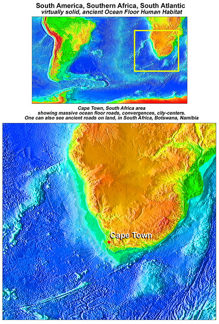 Offshore, Cape Town, South Africa, ancient Human Habitats on the Ocean Floor, to 18,000 feet deep, plausible 100,000 years old