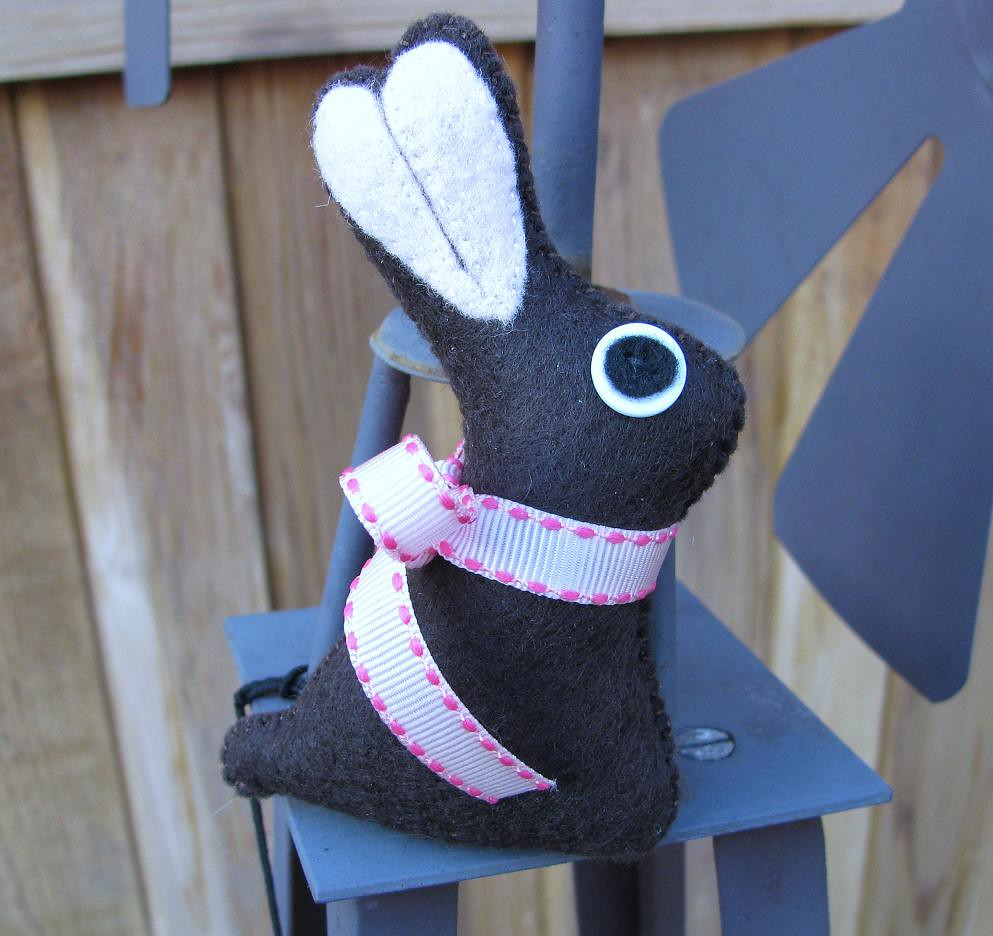 Handmade Blue and Chocolate Bunny Plush
