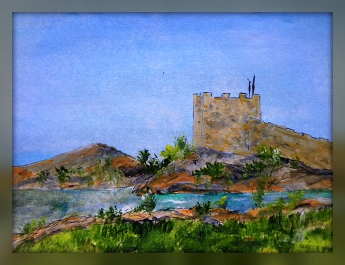 watercolor painting castle turkey bodrum vacation art moliskien dairy wn castlebodrum pleinair outdoor paper