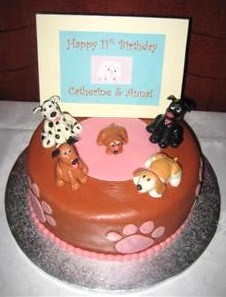Fine Dog Themed Birthday Cake This Cake Was For Twin Girls Who Flickr Funny Birthday Cards Online Fluifree Goldxyz