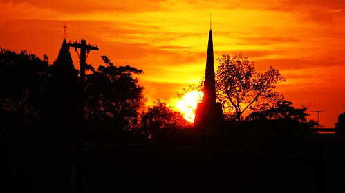 sunset sun church sunrise connecticut postcard scenic hartfordct