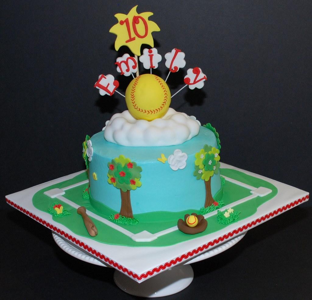 Super Softball Birthday Cake I Did A Softball Cake Back In Novem Flickr Personalised Birthday Cards Paralily Jamesorg