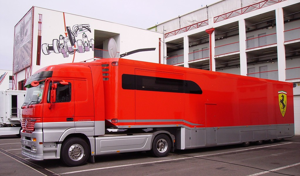 Mercedes-Benz Actros wearing the Scuderia Ferrari logo