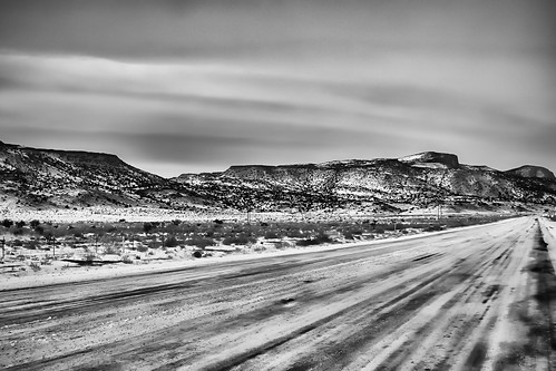 road winter sunset sky blackandwhite bw snow mountains newmexico field clouds landscape mesa