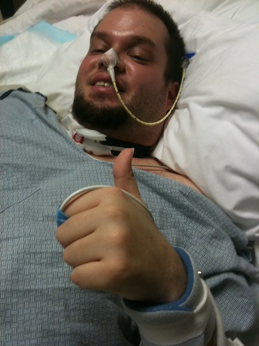 Jeff, still with the NG (nasogastric) tube and tracheostomy still in place.