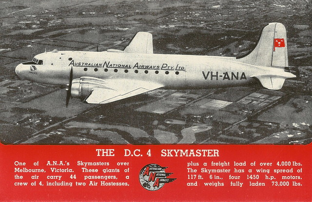 "ANA - Australian National Airways - ""The DC4 Skymaster"" - postcard, 1948"