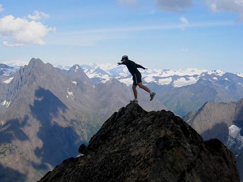 """Balancing on the Brink."" Eagle Peak summit, Chugach Mountains, Alaska | by Paxson Woelber"