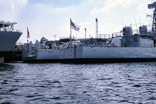 Stern ends... HMS Gurkha and HMS Zulu 1983